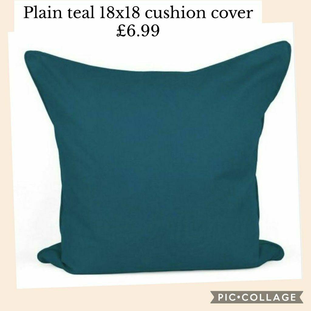 Plain teal 18x18 cushion cover £6.99