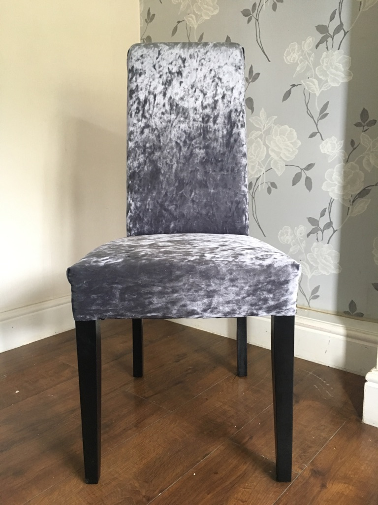 6 slate grey crushed velvet chairs with silver beading