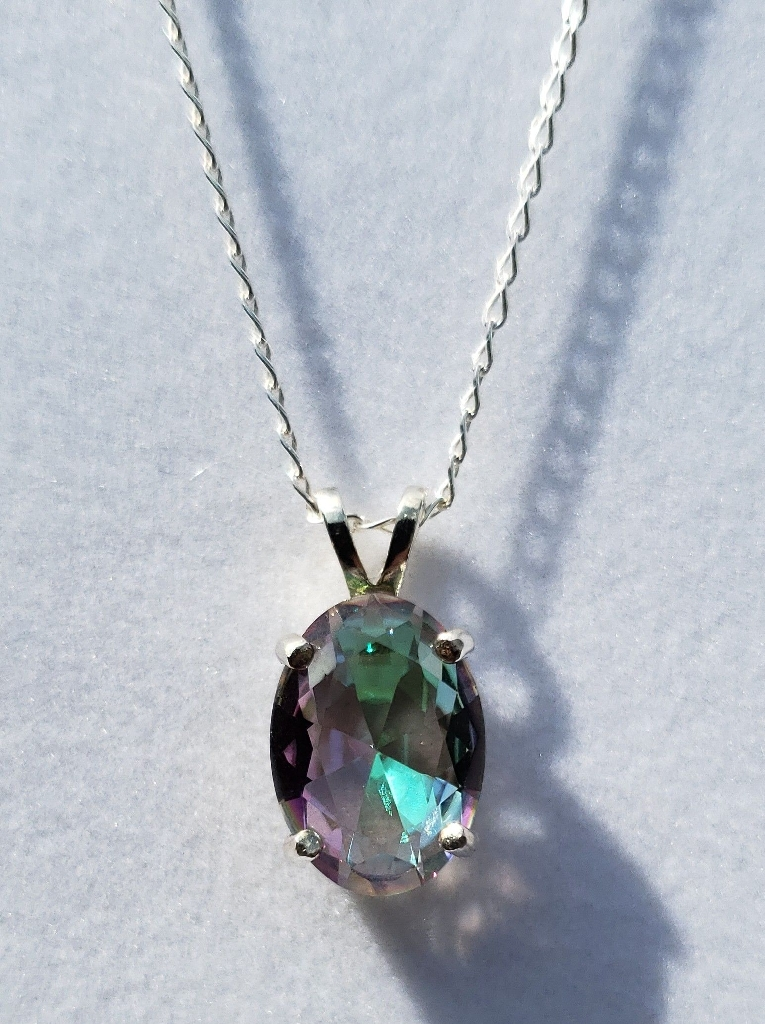 Oval Mystic Topaz Sterling Silver Necklace