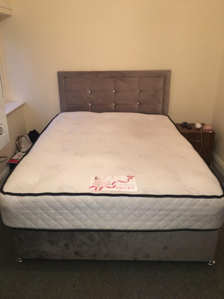 Double suede diamante bed