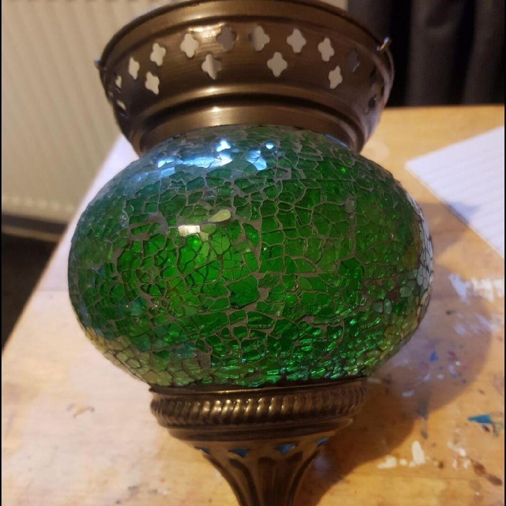 Green glass Turkish lantern light