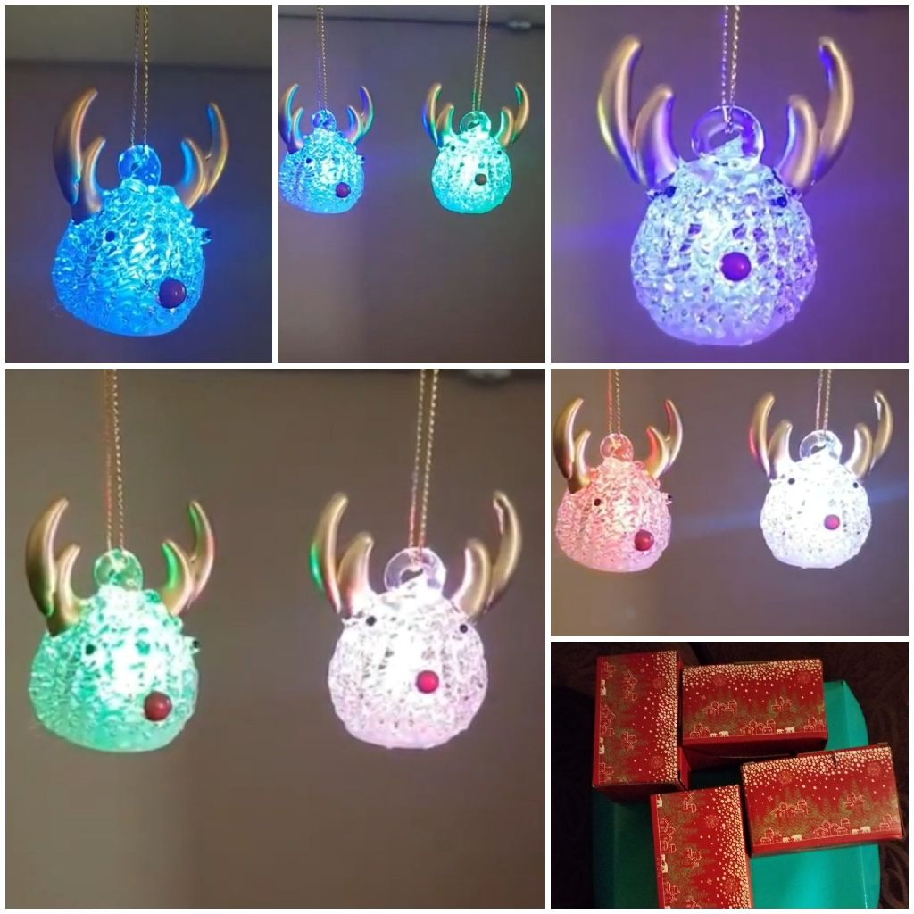 8 Reindeer Colour Changing Christmas Tree hanging decorations by Avon