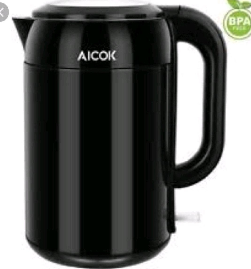 Aicok 1.7l Electric Kettle Double Walled Stainless Steel Black BRAND NEW BOXED