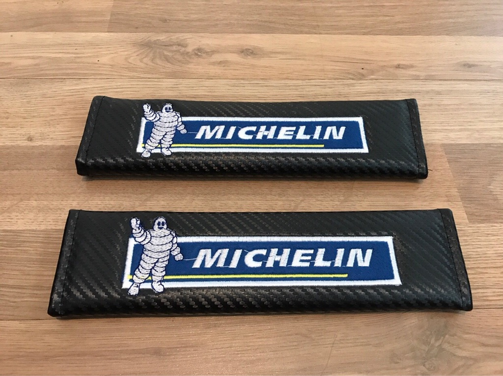2X Seat Belt Pads Carbon Gift Michelin Tire Motorsport Race Rally Tires Tuning Racing