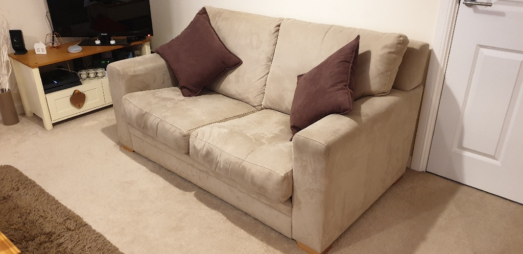 2 x Two Seater beige suede sofas - Good condition!