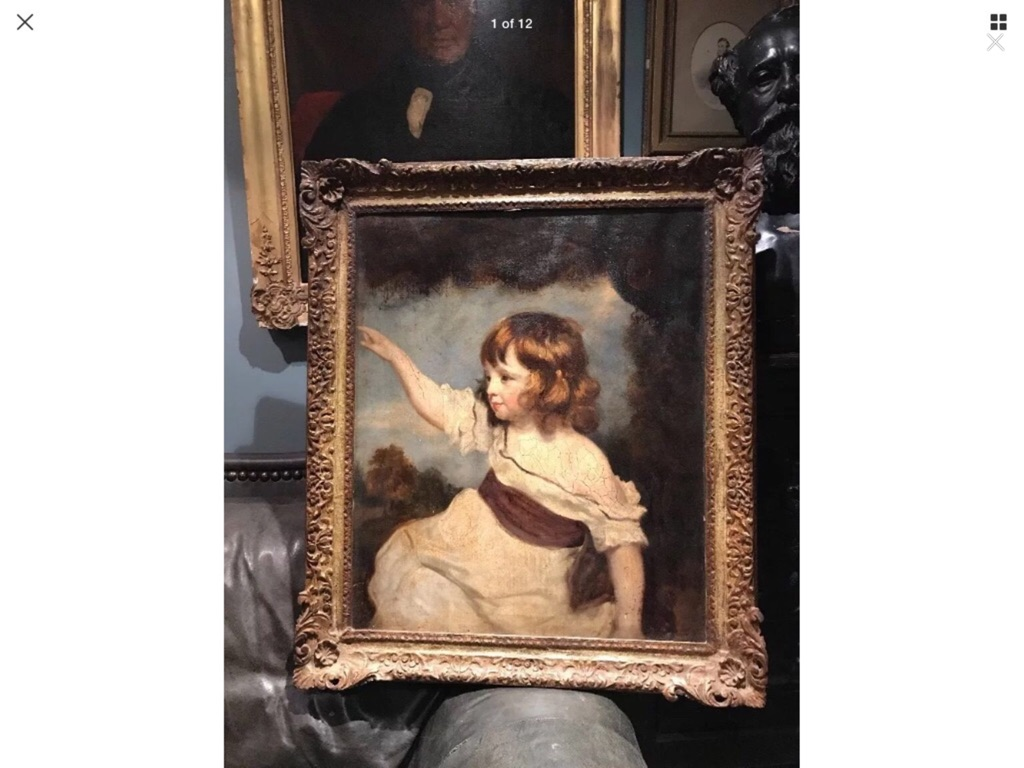 Large antique oil painting on canvas master hare sir Joshua Reynolds 18th century copy period hand carved wooden frame 31in 36in