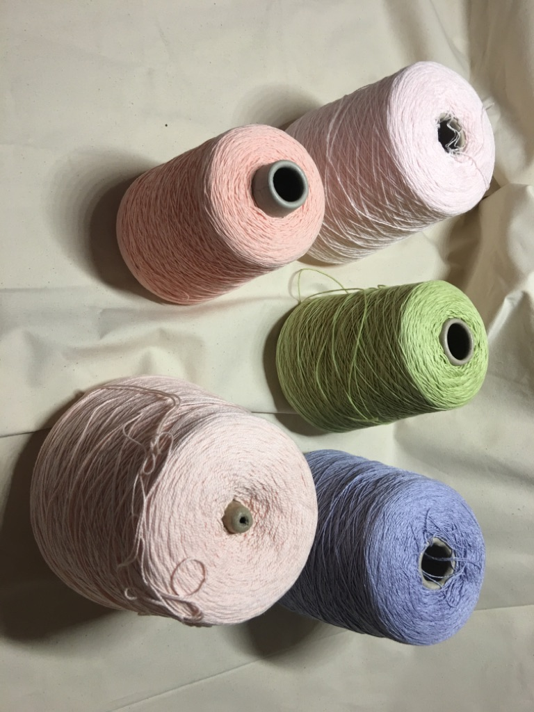Lot of soft cotton 2 or 3 ply yarn cones