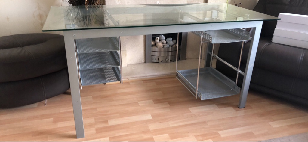 Large metal desk with various storage trays 150cm x 70cm