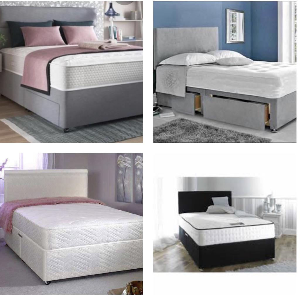 Single,double,Kingsize beds mattresses with plain headboards
