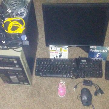 "Dell 17"" monitor, Compaq tower, DVD burner, 2 mouse, Dell keyboard, 3 software DVD s, 2 games, all wires and hookups"