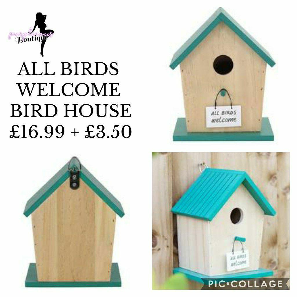 ALL BIRDS WELCOME BIRD HOUSE