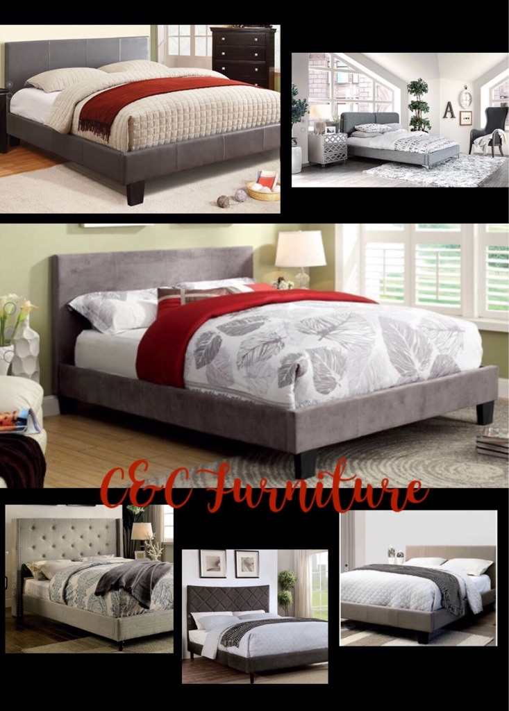 New , Queen Pearl croc texture Platform bed