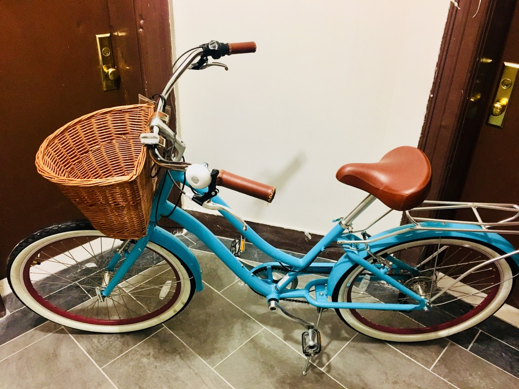 Teal hybrid cruiser bicycle