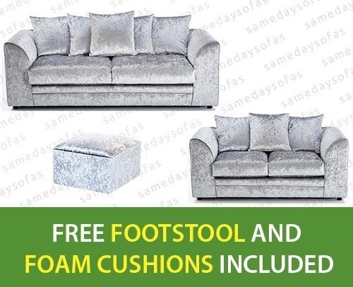 NEW 3+2 SEATER SILVR CRUSHED VELVET SOFA'S-WITH FREE...