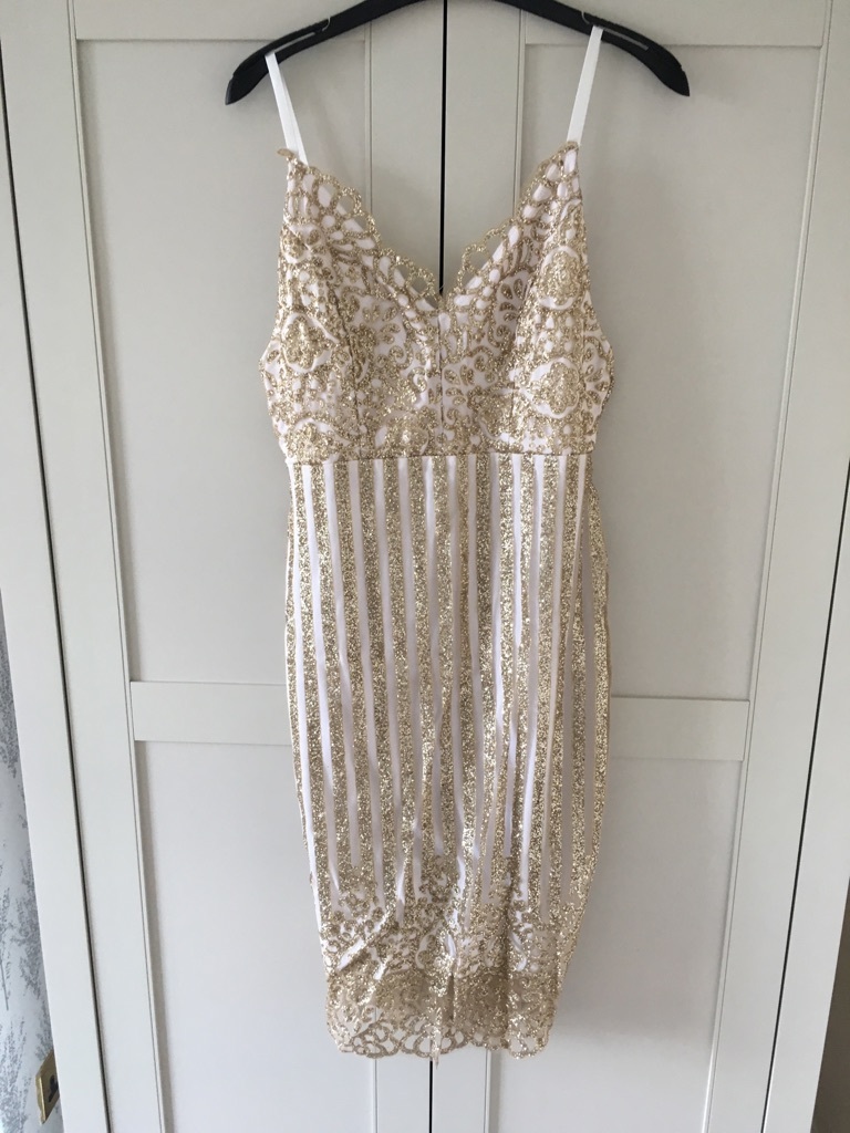 White and gold glitter dress