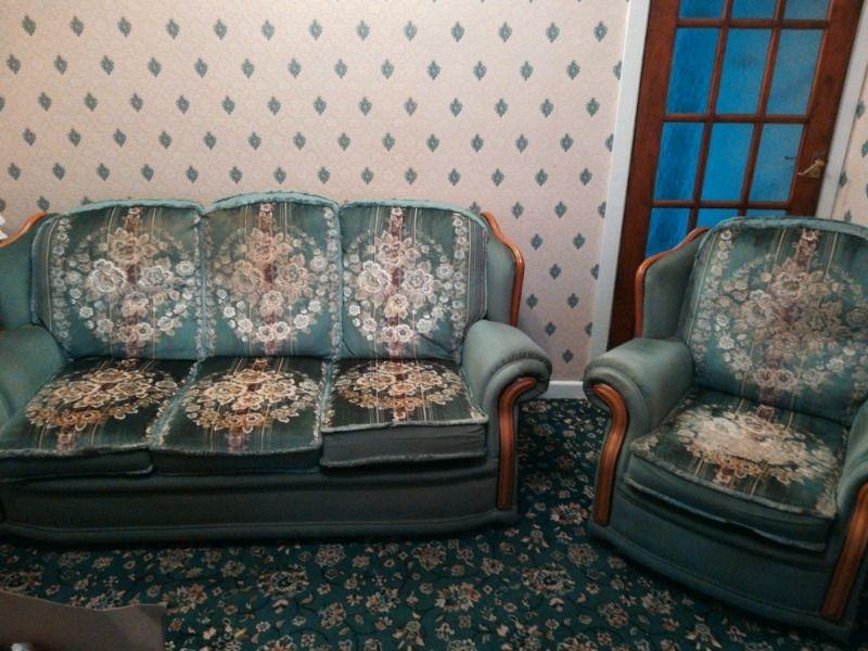Three piece sofa two arm chairs