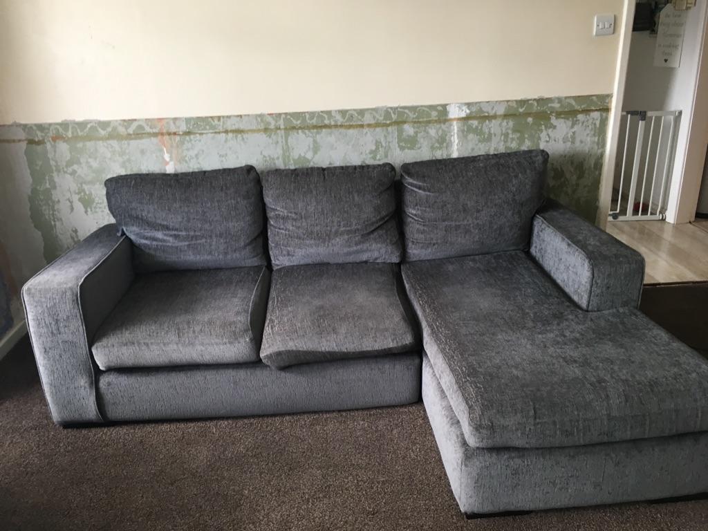 Grey Fabric corner sofa , 2 seater sofa and storage box