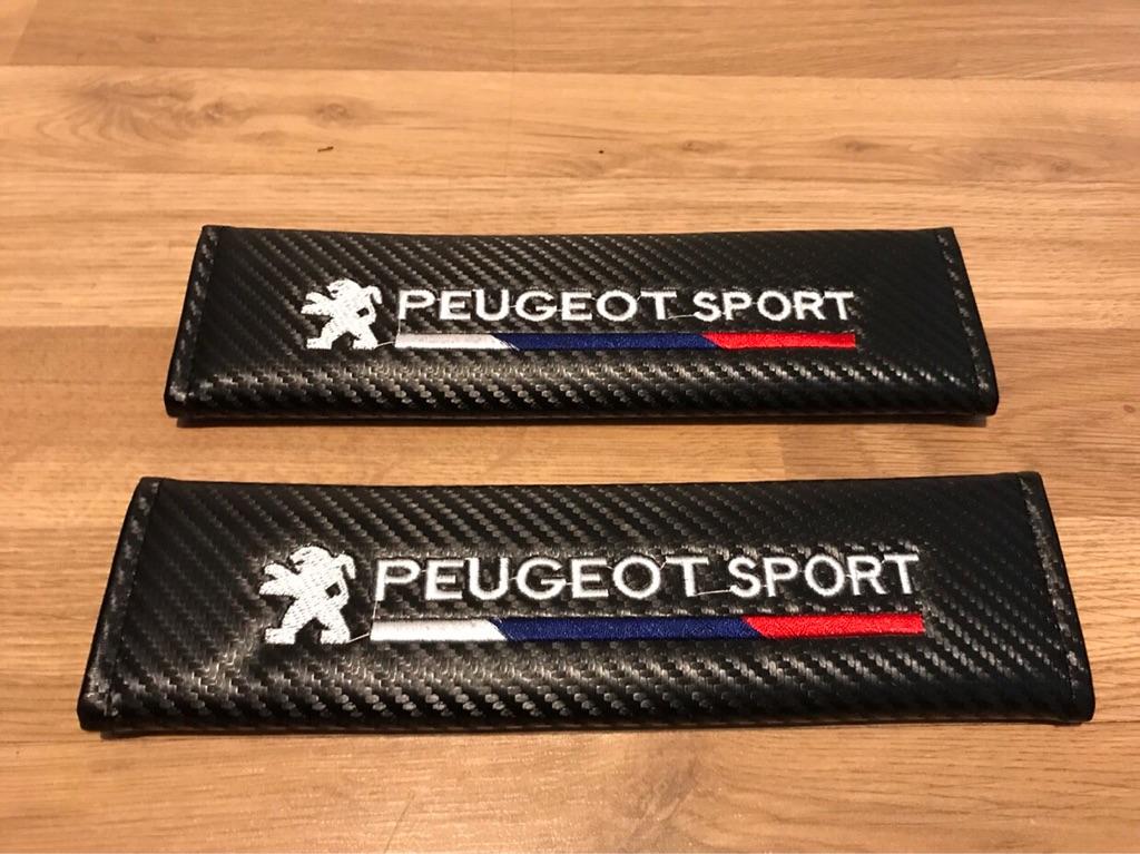 2X Seat Belt Pads Carbon Gift Peugeot Sport 107 108 206 207 208 308 RCZ