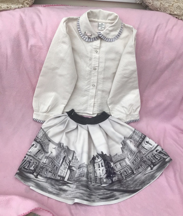 Grey and white beautiful top and skirt
