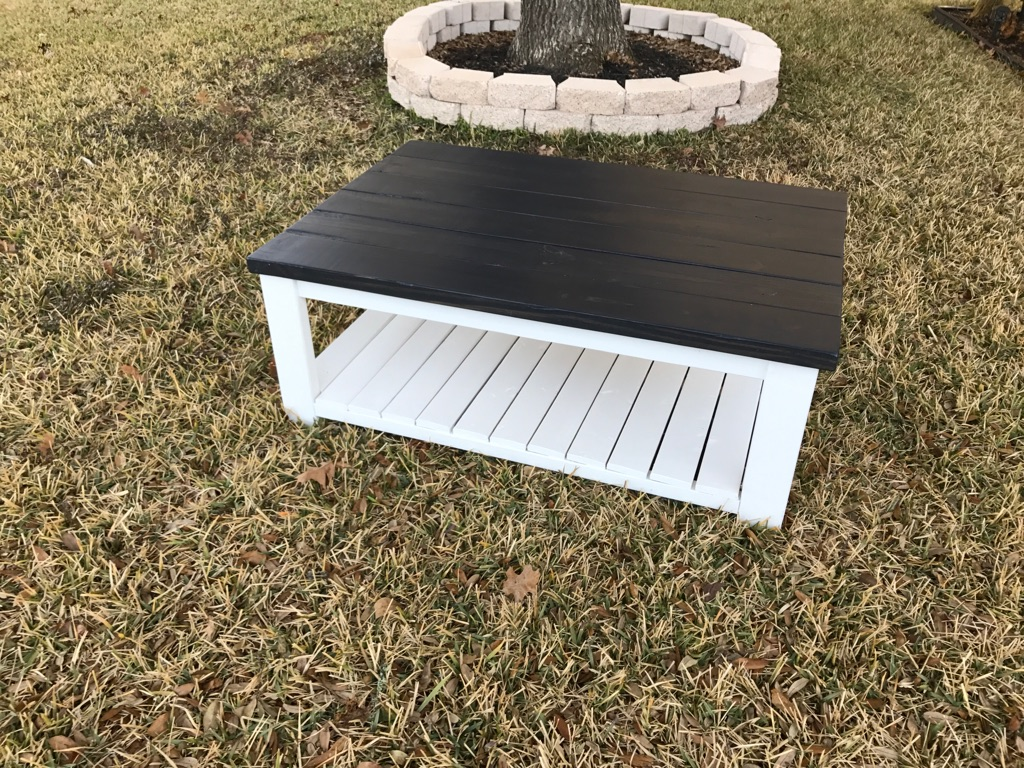 Real wood charcoal grey coffee table