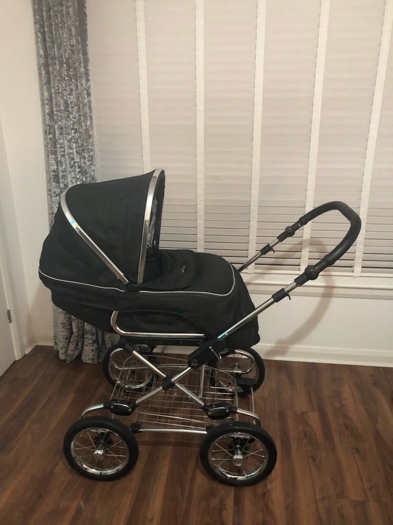 Silver cross pram and car seat with rain covers