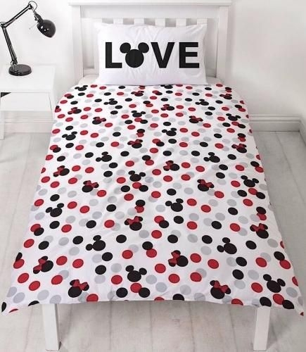"""Official Disney Mickey & Minnie Mouse Beyond """"Reversible"""" Single Duvet Cover"""