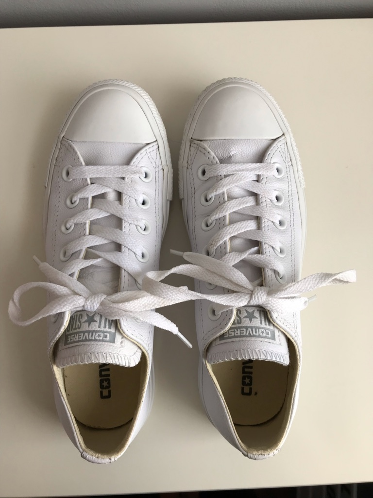 Women's All White Leather Converse - UK size 5