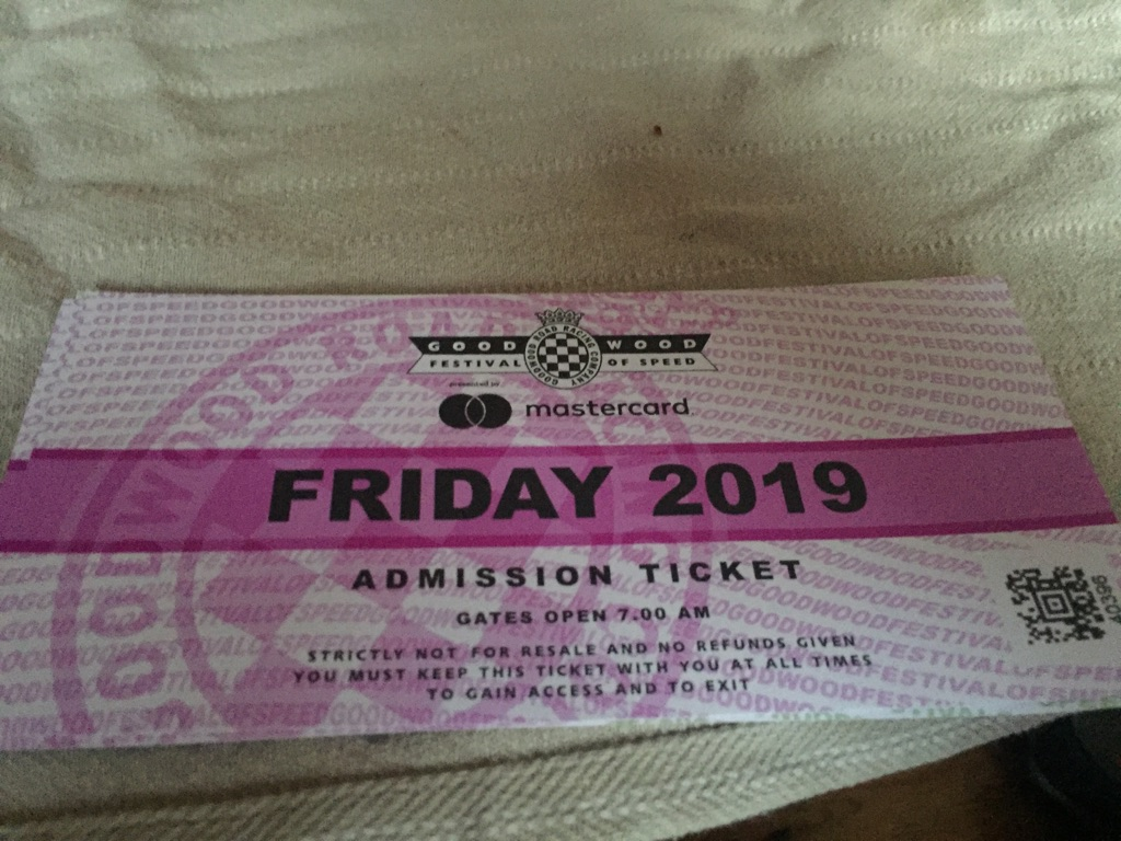 Goodwood FEstival of speed tickets x2 Friday for sale