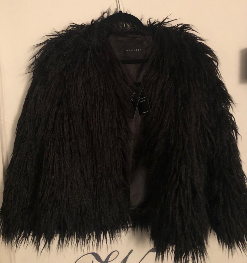 New Look Mongolian Faux Fur Jacket NEW Size UK 14