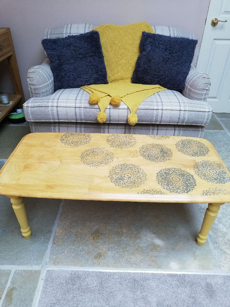 Upcycled Retro Coffee Table, mustard and grey