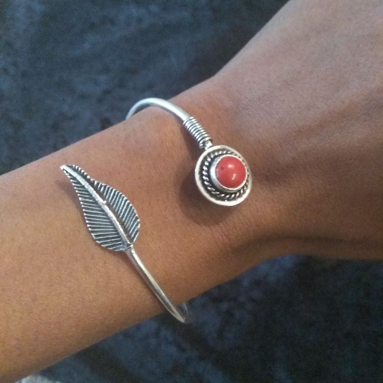Red Coral Feather Bracelet Bangle