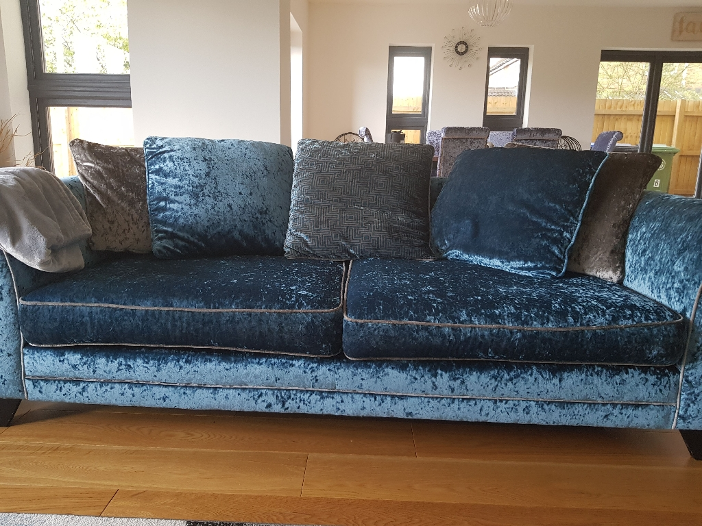 2 Crushed velvet sofa. Dfs