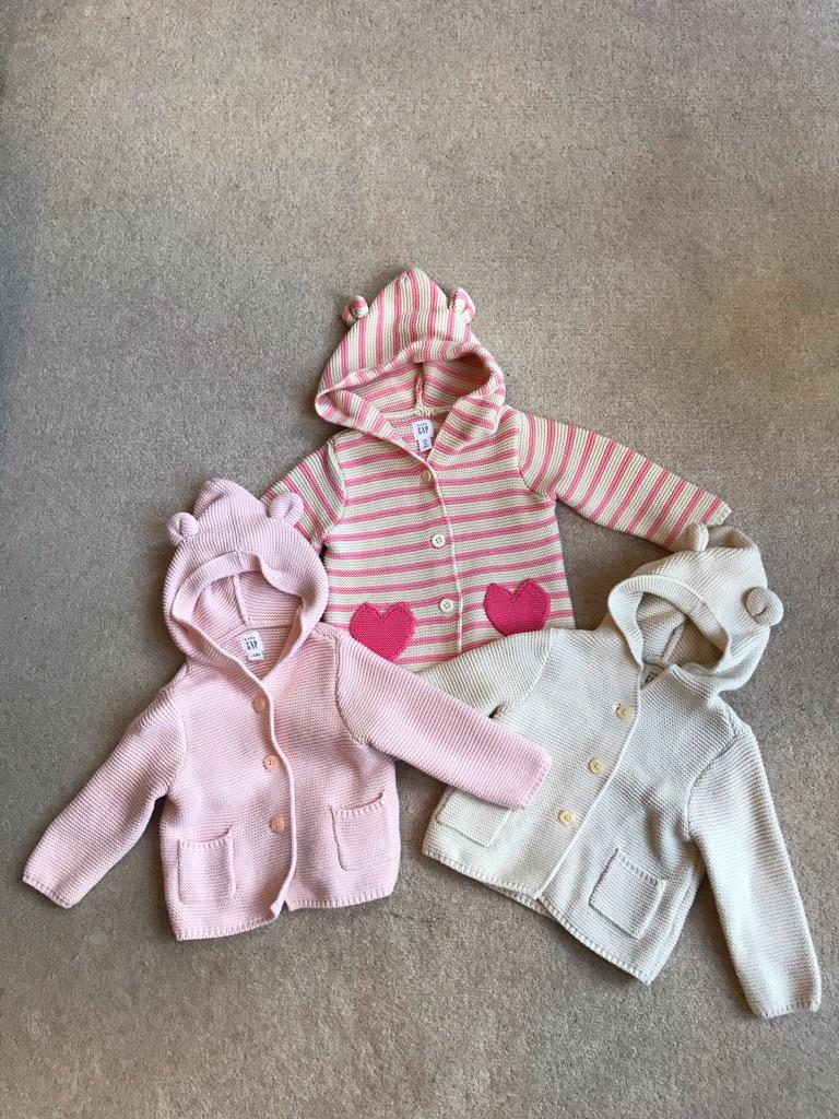 6-12 months x3 Gap knitted cardigans (worth £22 EACH)