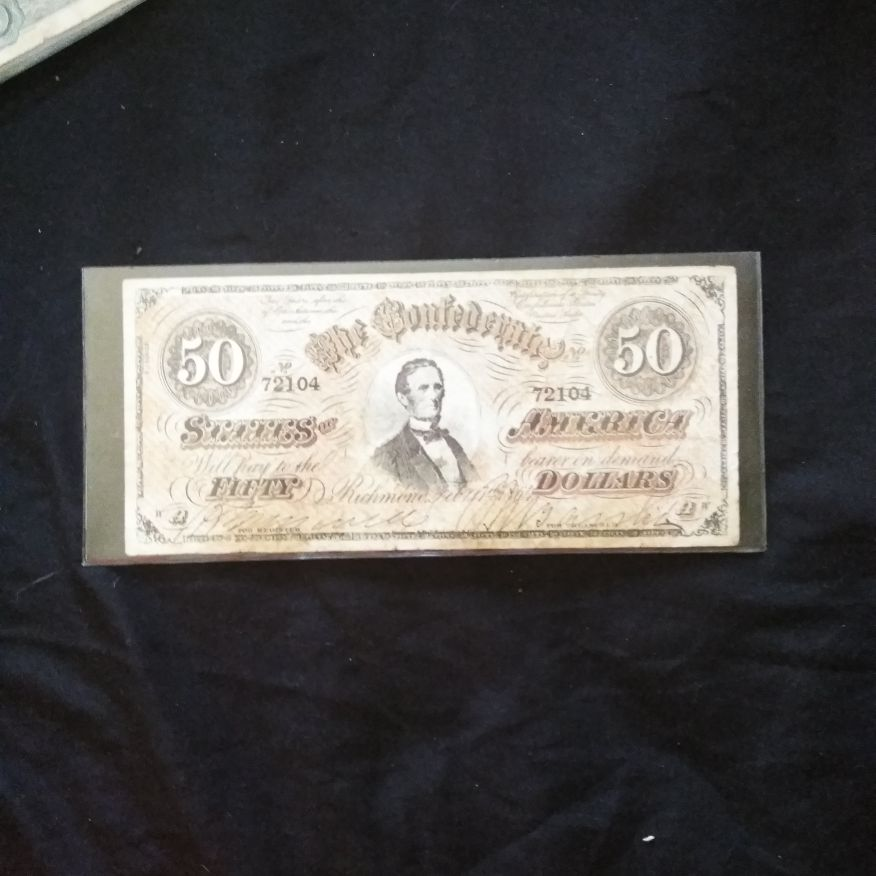 1864 Confederate fifty dollar bill