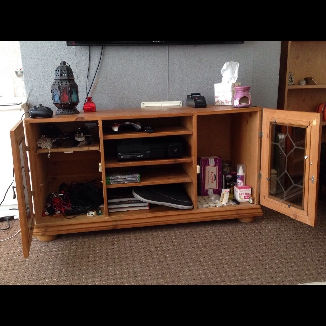 Solid wood handmade glass cabinet TV centre stand.