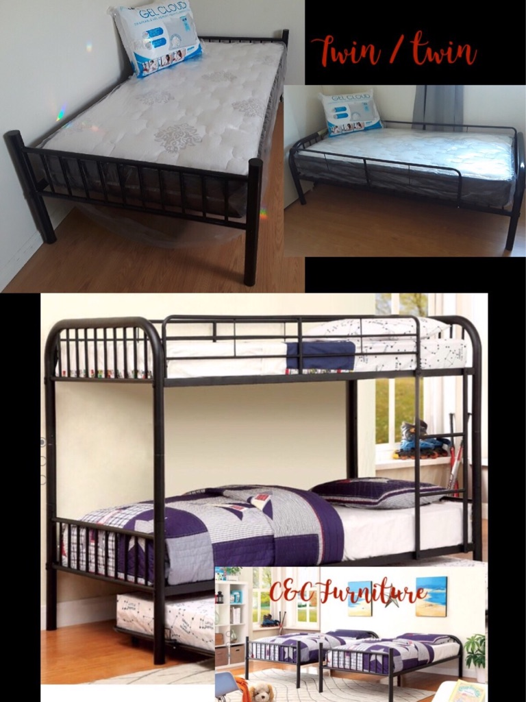New* Black Metal bunk beds w/ mattresses