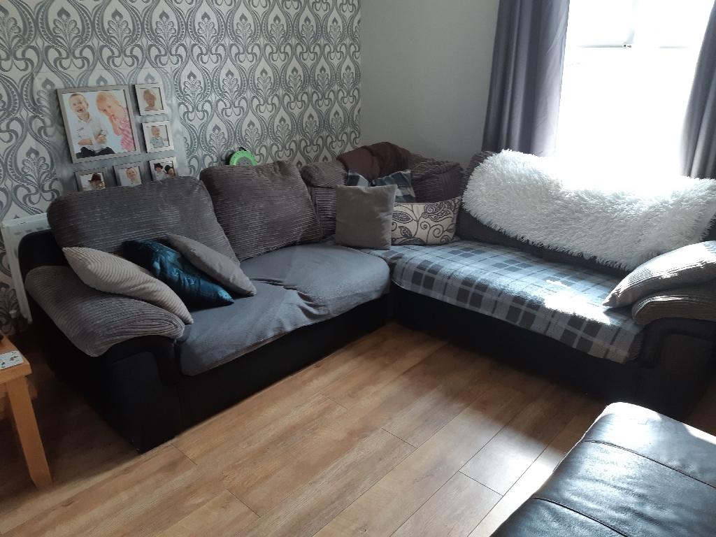 Grey cord/faux leather corner sofa