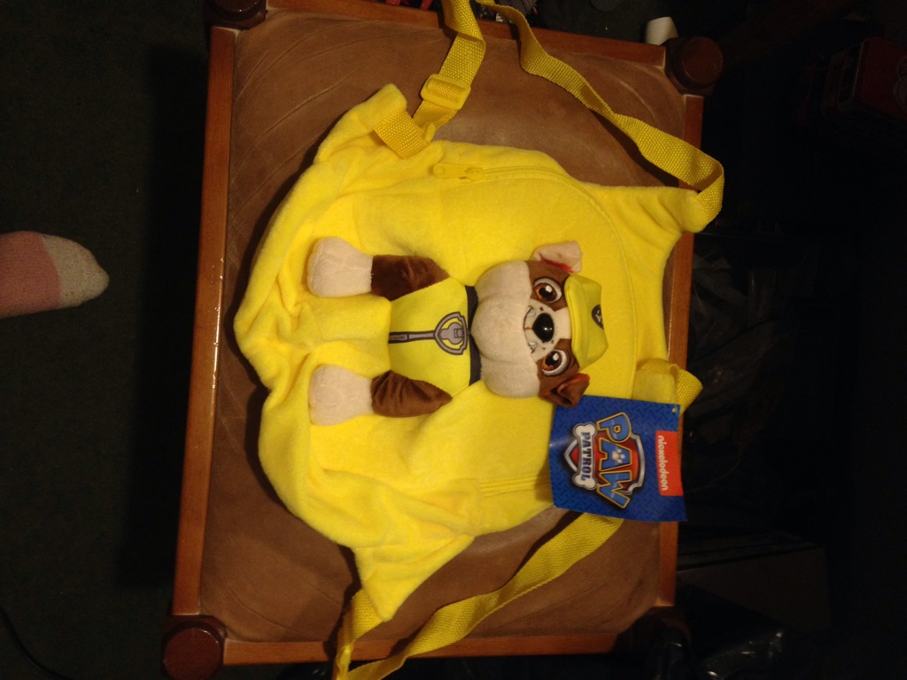 A paw patrol yellow bag
