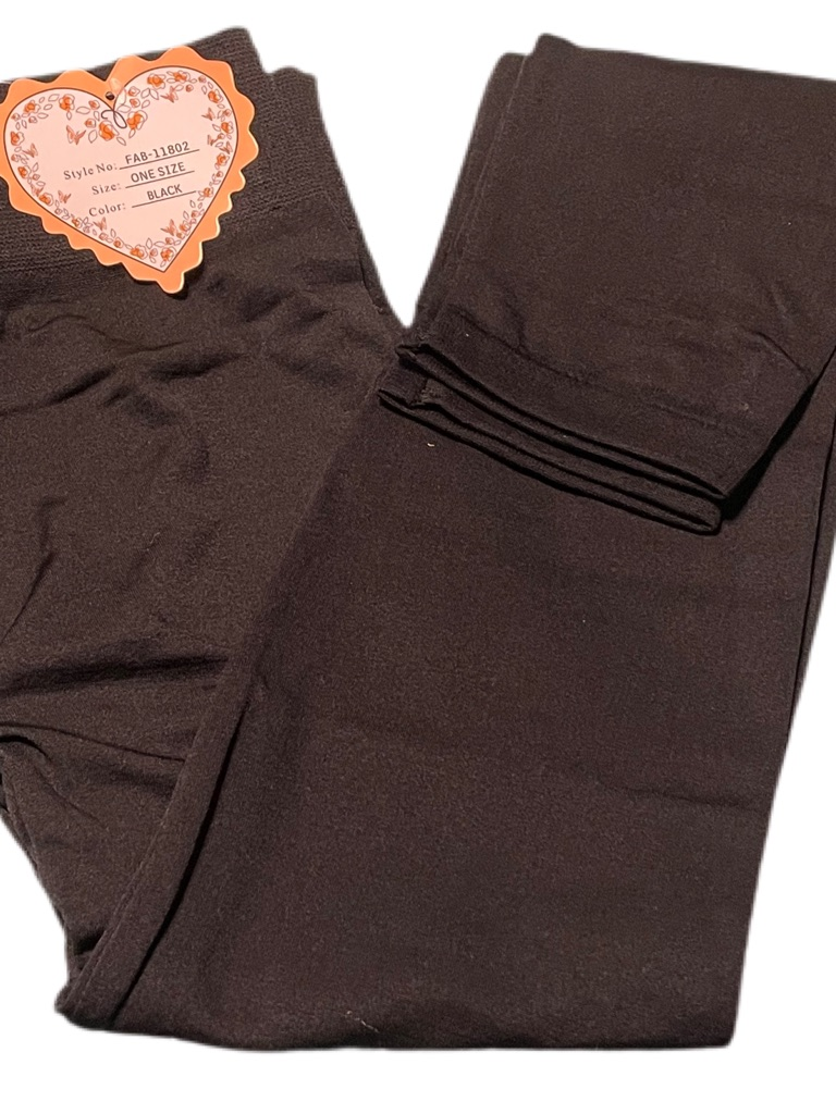 F & F Black Lined Leggings Size: One Size