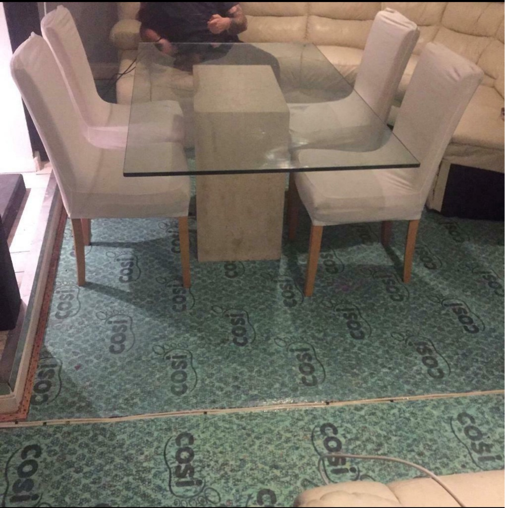Marble & glass table 6 chairs
