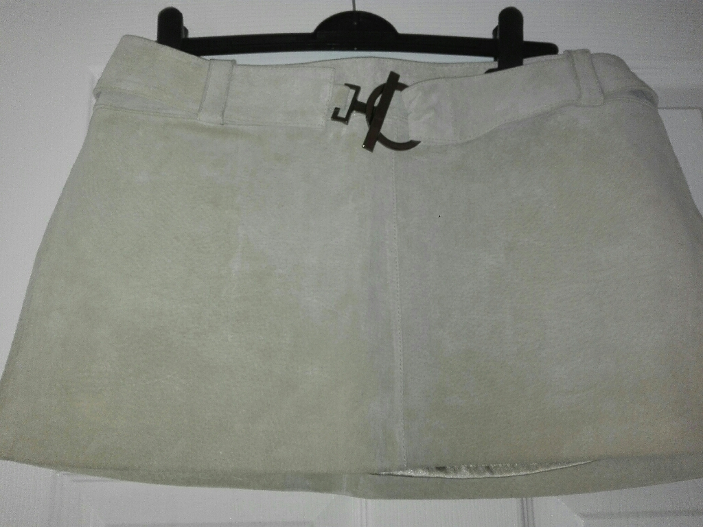Cream suede mini skirt