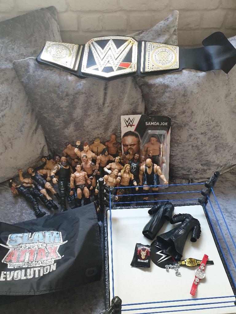 Wwe figures few accessories ring black belt