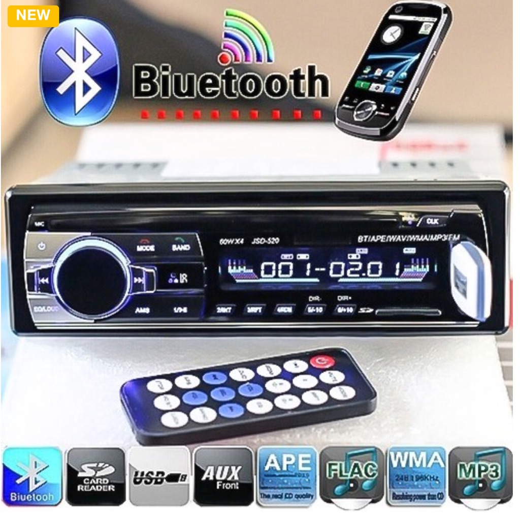Brand New Bluetooth V2.0 Car Radio Stereo Audio MP3 Player 12V In-dash Single 1 Din FM Receiver Aux Receiver USB SD