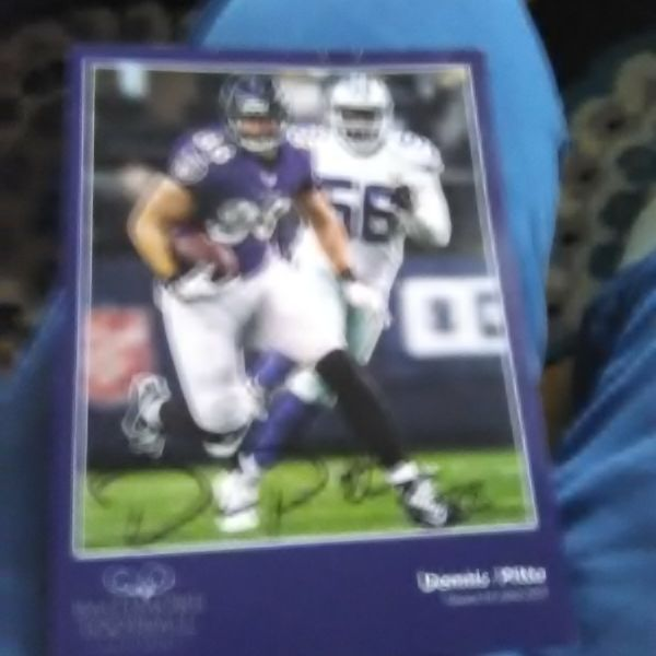 Autograph by Dennis pitta Ravens mini poster