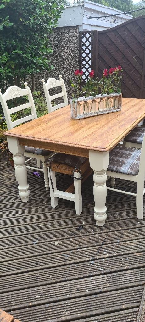 Farmhouse dining table with chairs and bench