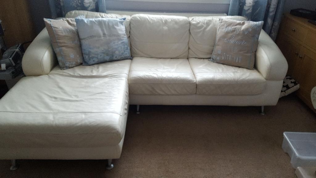 Cream Leather Corner Sofa And Chair