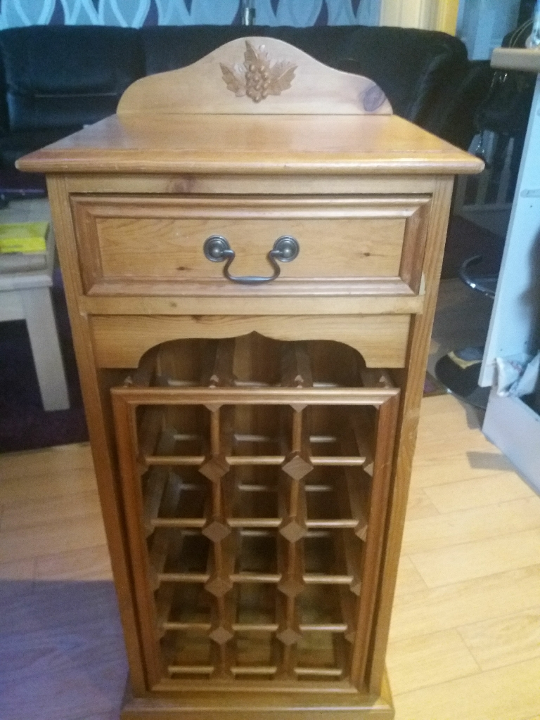Wooden Wine Unit With Drawer