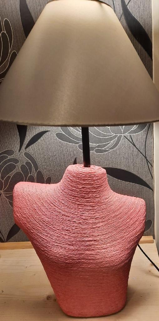 Bespoke handmade pink manikin lamp
