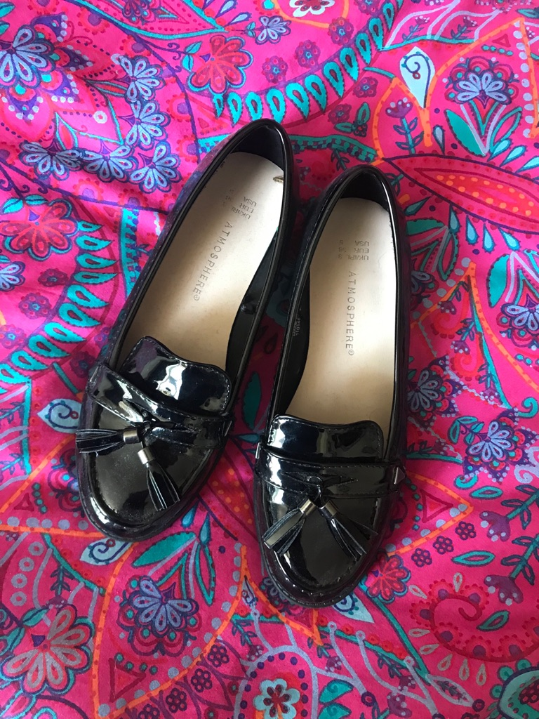 Black High-gloss finish ballerinas/loafers woman's shoes with details