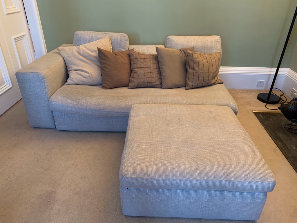 Habitat Tan Daybed Sofa and Footstool